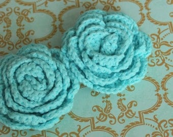 Lot of 2 Light Aqua Crochet Flower Appliques - 3D Ruffled Rose for Headbands, hairclips and brooches
