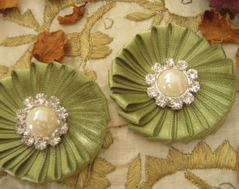 Pistachio Green Ribbon Flower Appliques with Pearl and Rhinestones