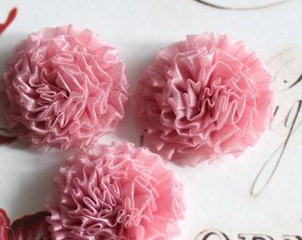 "6 pcs , Mauve Pink Organza Chrysanthemum Flower Appliques in 1.5"""
