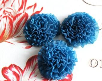 "6 pcs , Peacock Blue Organza Chrysanthemum Flower Appliques in 1.5"""