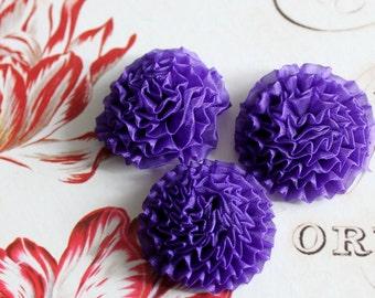 "6 pcs , Purple Organza Chrysanthemum Flower Appliques in 1.5"""