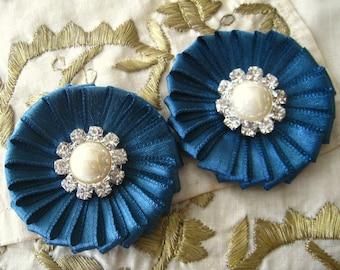 Peacock Blue Satin Daisy Flowers