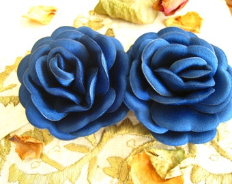 Satin Royal Blue Rose Flower - 2 piece