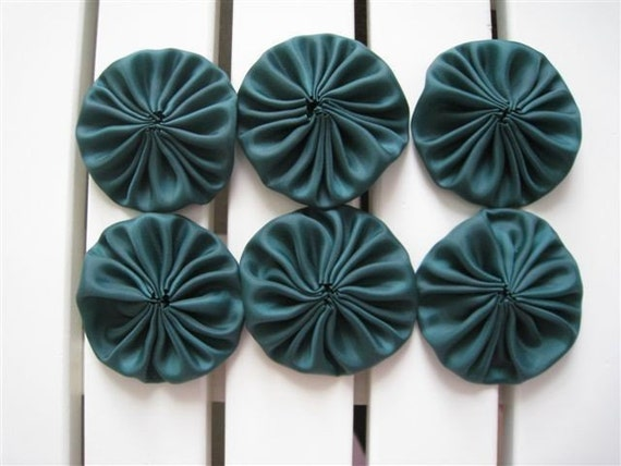 Last Set - PIF to my customers - Handmade Dark Green Satin Lining Appliques - 6 pieces 2 inches