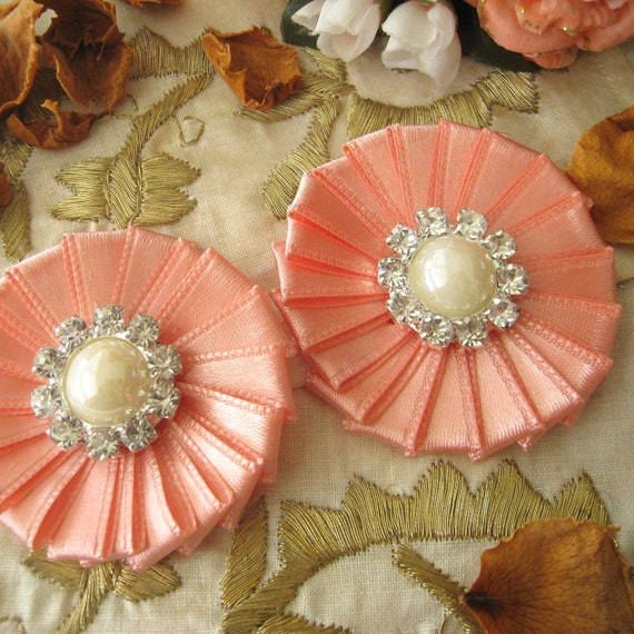 CUSTOM - 14 PCS Peach Pink Ribbon Flower Appliques with Pearl and Rhinestones