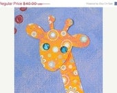 ON SALE Giraffe Nursery Art. 9 x 12 Cute Original Mixed Media by robinseggstudio on Etsy.