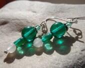 Emerald glass and White Jade Earrings