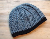 Crochet Cable Beanie in Charcoal Gray- Child's Large or Adult XS