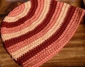 Striped Hand Crochet Hat - Warm Colors - Adult L-XL