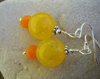 Yellow and Tangerine Beaded Earrings