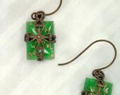 Emerald Dreams - Brass Filigree Earrings