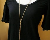 Long Gold Knot Chain Necklace in Raw Brass - Long Gold Necklace, Simple Everyday Jewelry