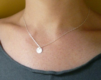 Moon Drop Necklace in Sterling Silver - Tiny Silver Dot Necklace
