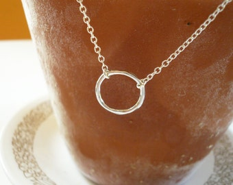 Silver Circle Necklace in Sterling Silver - Sweet and Simple Organic Twig Circle Necklace, Twig Jewelry