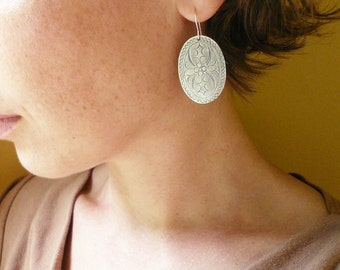 Big Silver Earrings - Stamped Oval Flower Earrings in Tin and Sterling Silver