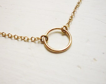 Tiny Gold Circle Necklace in Gold Filled - Sweet and Simple