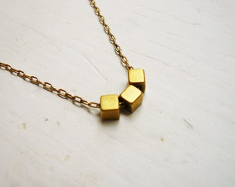 Gold Geometric Necklace - Three Tiny Gold Cubes Necklace in Gold Filled and Vintage Brass