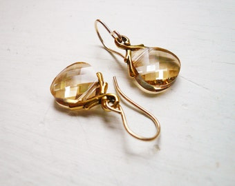 Golden Shadow Earrings -  Swarovski Briolette and Gold Vine Earrings, Small Simple Dainty Jewelry