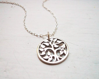 Tree of Life Necklace in Sterling Silver. Silver Tree Necklace. Solid Sterling Silver Tree of Life Pendant Necklace.