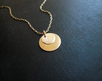 Sun and Moon Necklace in Gold Filled and Sterling Silver, Simple Everyday Dainty Jewelry