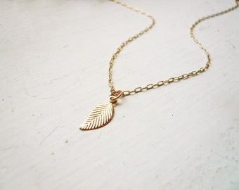 Tiny Gold Leaf Necklace in Gold Filled - Small and Dainty Everyday Jewelry