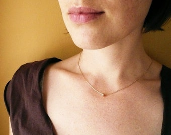Tiny Bead Necklace in Gold Filled - Simple, Dainty Everyday Jewelry