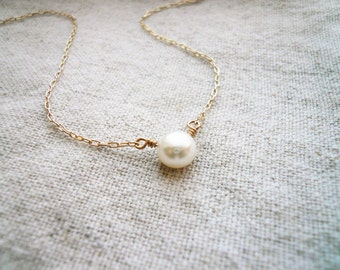 Perfect Pearl Necklace - Single Pearl Necklace, Pearl Solitaire. Fresh Water Pearl and Gold Filled. Tiny Pearl Necklace, Pearl Necklace