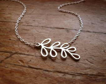 Silver Branch Necklace in Sterling Silver, Simple Everyday Dainty Jewelry