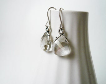 Silver Shade Earrings -  Swarovski Briolette and Silver Vine Earrings, Small Simple Dainty Jewelry