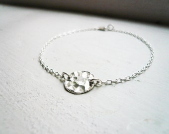 Hammered Disc Bracelet in Sterling Silver - Sweet, Simple Everyday Jewelry