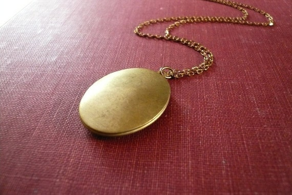 Large Brass Oval Locket