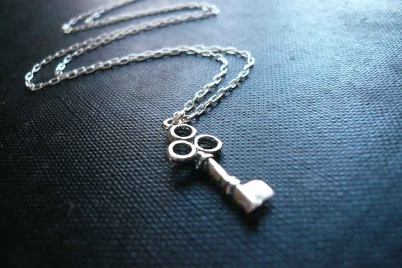 Tiny Skeleton Key Necklace in Sterling Silver