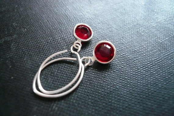 Little Drop Earrings - Siam Red Swarovski Crystal and Sterling Silver