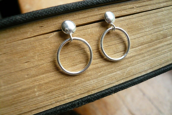 Tiny Circle Post Earrings in Sterling Silver