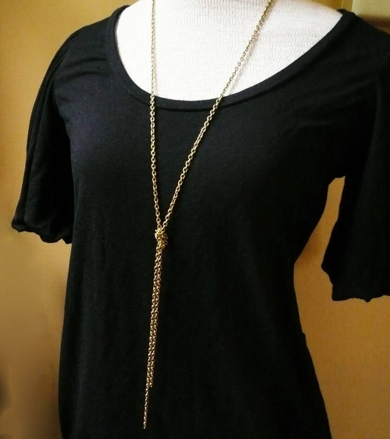 Long Gold Knot Chain Necklace In Raw Brass Long Gold