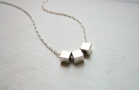 Silver Geometric Necklace - Three Tiny Silver Cubes Necklace in Sterling Silver