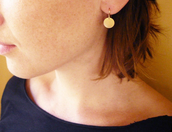 Simple Gold Circle Drop Earrings in Gold Filled - Dainty Everyday Earrings