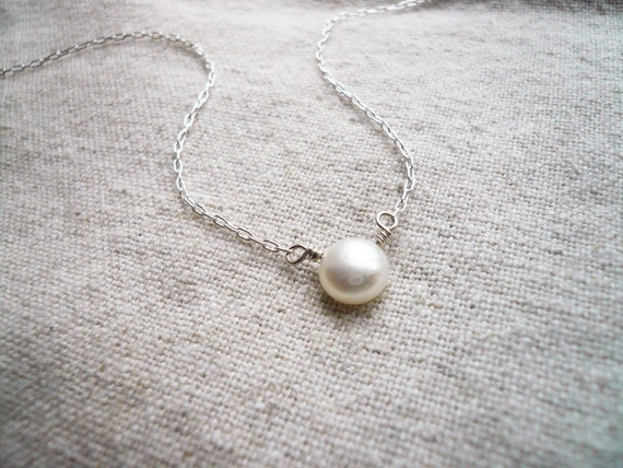 Perfect Pearl Necklace - Single Pearl Necklace, Pearl Solitaire. White Fresh Water Pearl and Sterling Silver - Sweet and Simple Necklace
