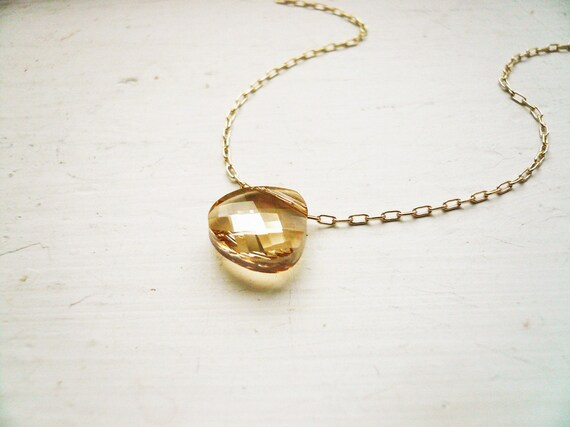 Simple Gold Crystal Necklace - Golden Shadow Necklace - Swarovski Crystal and Gold Filled