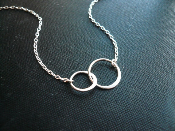 small entwined rings necklace in sterling silver sweet wedding or mothers day gift - Wedding Ring Necklace
