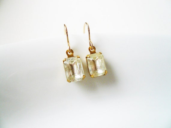 Small Crystal Clear Glass Rectangle Jewel Rhinestone and Gold Filled Earrings