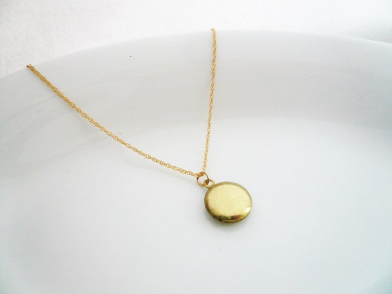 Tiny Gold Locket in Brass and Gold Filled - Dainty Everyday Necklace