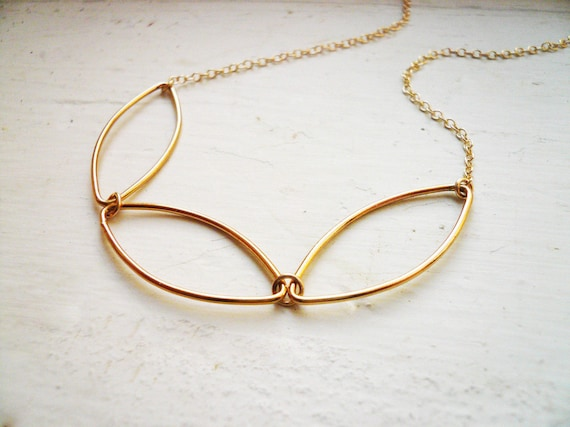 Gold Geometric Necklace  - Three Gold Linked Marquise Petals Necklace in Gold Filled