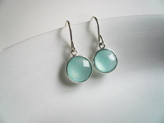 Chalcedony Earrings in Sterling Silver - Dainty Everyday Sea Green Gemstone Earrings