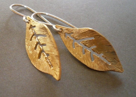 Small Gold Leaf Earrings