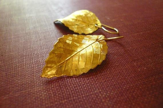 Vintage Gold Brass Leaf Earrings