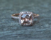 Cushion peach champagne sapphire in 14k rose gold diamond ring-on hold-2nd payment
