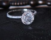 White sapphire diamond engagement ring