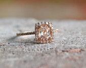 Cushion peach champagne sapphire in 14k rose gold diamond ring