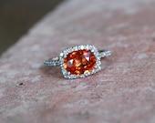 Firely orange sapphire diamond ring 14k white gold
